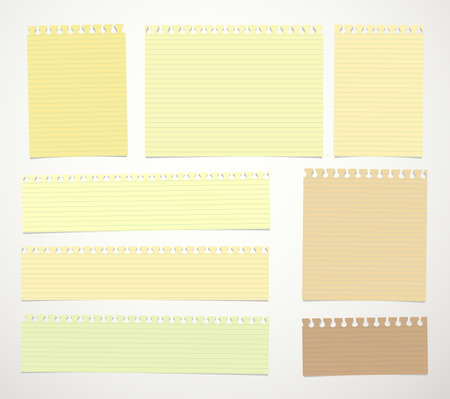 notebook paper background: Pieces of cut yellow, brown lined notebook paper sheets are stuck on white background.