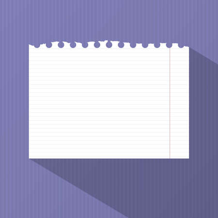 margin: Ripped white lined notebook paper with margin is stuck on striped purple wall.
