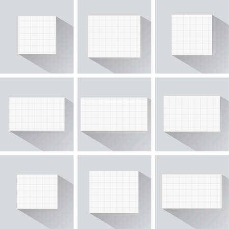 squared: Pieces of cut white squared notebook paper with long shadow are stuck on blue background. Illustration