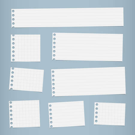 notebook paper background: Pieces of cut white squared, lined notebook paper are stuck on blue background.