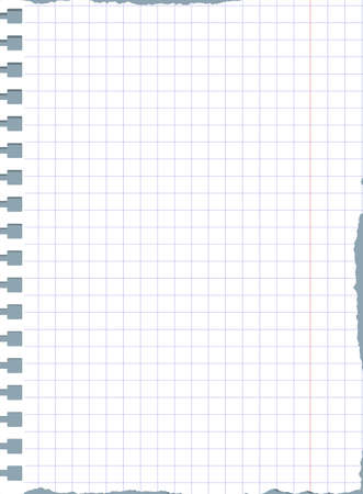 papel de cuaderno cuadrado blanco rasgado está en gris superficie de la mesa o de fondo. Ilustración de vector