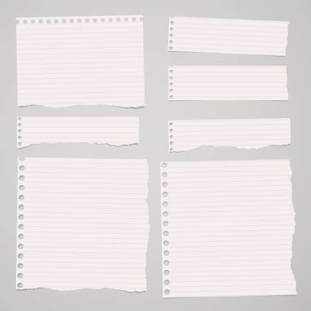 light brown background: Pieces of ripped white lined notebook paper are stuck on light brown background. Illustration