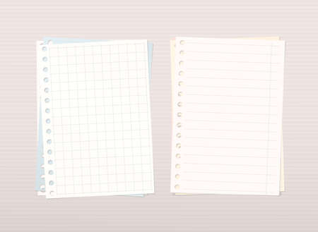 squared: Colorful stacked squared, ruled notebook paper are on pink lined background.