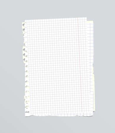 Blanco roto apilados cuadrado, dictaminó papel de cuaderno son en el fondo gris.