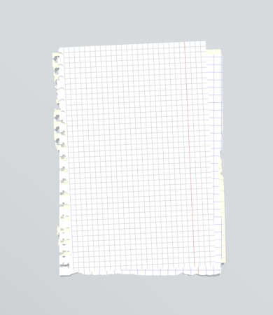 squared: White torn stacked squared, ruled notebook paper are on gray background.