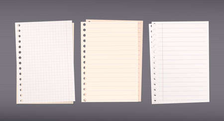 ruled paper: Stacked white, brown squared, ruled notebook paper are on dark background.