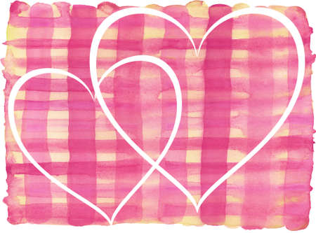 heart abstract: Pink, yellow lines painted watercolor pattern with white hearts. Stock Photo