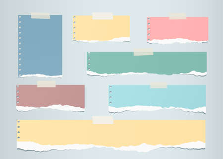 blank note: Pastel colorful ripped blank note paper are stuck on gray  background. Illustration