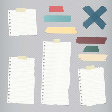 blank note: Ripped lined blank note paper, colorful sticky, adhesive tapes are stuck on squared gray wall.