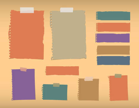 Colorful ripped blank, lined note paper are stuck on orange background. Illustration