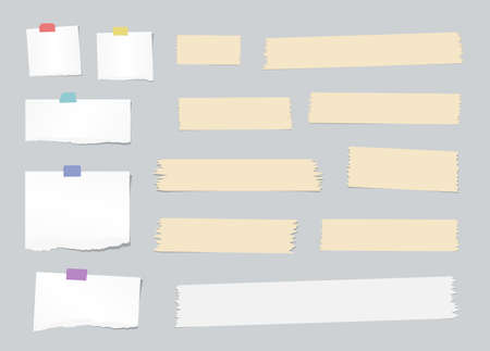 blank note: Pieces of ripped white, blank note paper, brown sticky, adhesive tapes are stuck on gray wall. Illustration