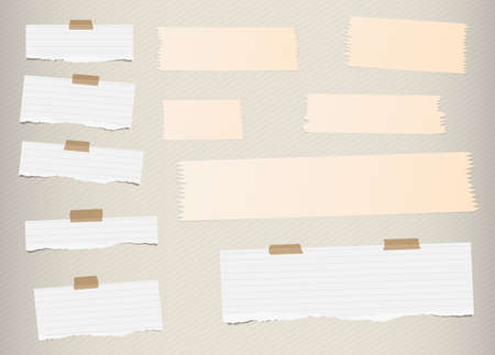 blank note: Pieces of ripped white, lined blank note paper, brown sticky, adhesive tapes are stuck on diagonal pattern wall. Illustration
