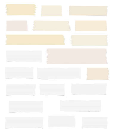 blank note: Pieces of ripped white, lined blank note paper, brown sticky, adhesive tapes are stuck on white wall. Illustration