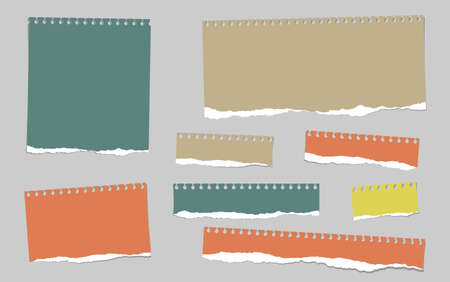 note paper background: Colorful ripped blank note paper are stuck on gray background.