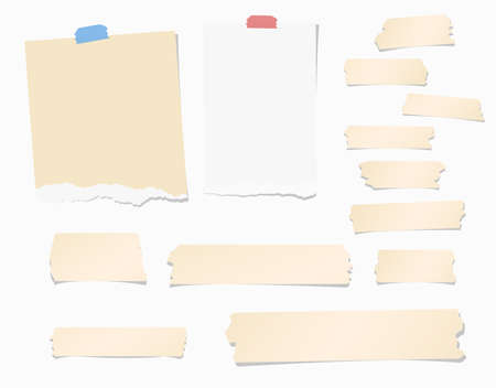 blank note: Pieces of ripped white, brown blank note paper, colorful sticky, adhesive tapes are stuck on wall.