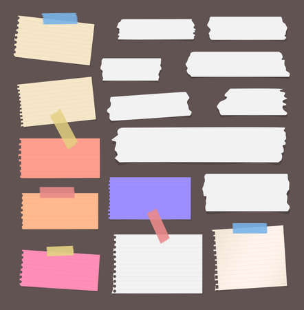 sticky note: Colorful ripped lined blank note paper, sticky, adhesive tapes are stuck on brown wall.
