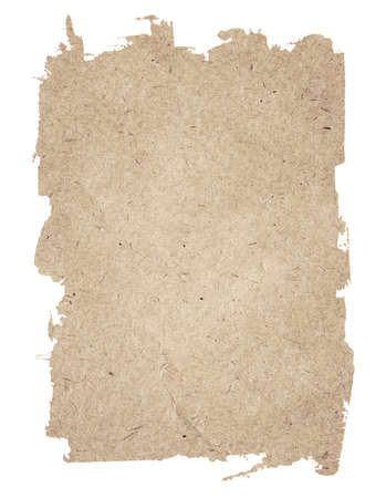 Brown torn grunge paper texture isolated on white background.