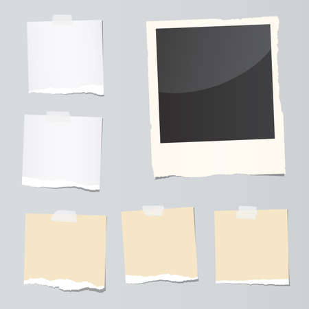 Set of ripped note paper pieces and instant film are stuck on gray background.