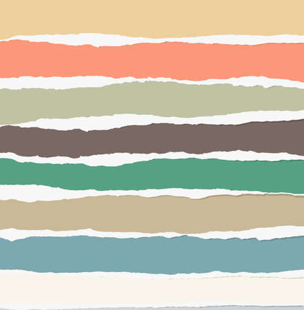 edge design: Pieces of torn colorful blank paper are stuck on gray background. Illustration