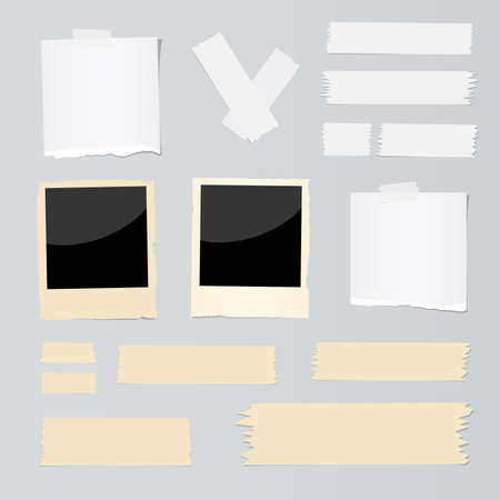 Ripped note paper piece, instant films and adhesive, sticky tape are stuck on gray background.