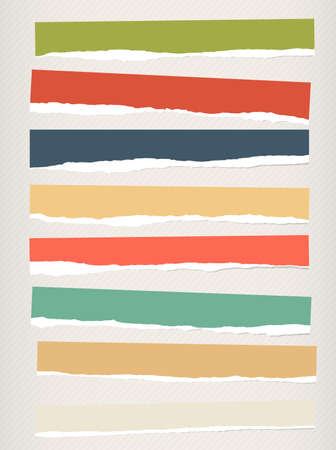 teared: Pieces of torn colorful blank paper are stuck on striped background. Illustration