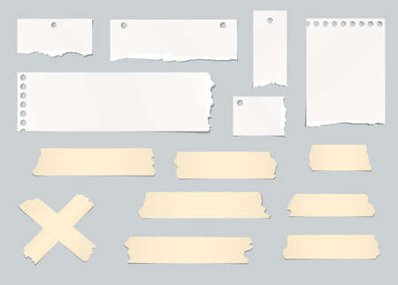 masking: Pieces of ripped white blank note paper, masking tapes are stuck on gray background.