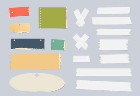 blank note: Pieces of ripped colorful blank note paper, white masking tapes are stuck on gray background.