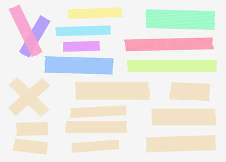 striped band: Set of colorful and different size masking, sticky, tapes are stuck on white background.