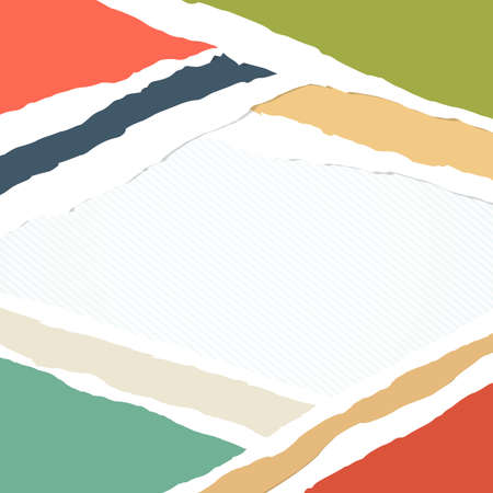 teared paper: Ripped colorful paper pieces are stuck on striped background. Illustration
