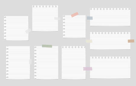 sticky: Pieces of cut out white notebook paper are stuck on gray striped background. Illustration