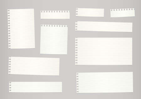 ruled paper: Pieces of cut out beige ruled notebook paper are stuck on gray background.
