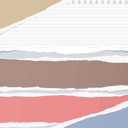 Ripped colorful and ruled notebook paper sheet are stuck on gray background.