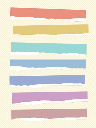 stuck: Ripped colorful blank paper pieces are stuck on striped background.