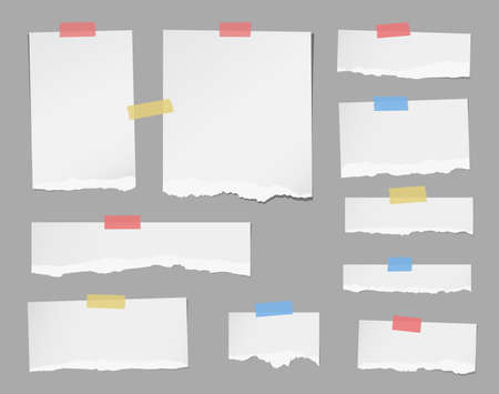 masking: Pieces of ripped white note paper are stuck with masking tapes on gray background.