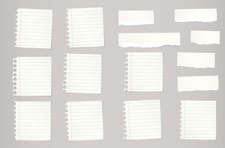 Pieces of torn beige ruled notebook paper are stuck on gray background. Vectores