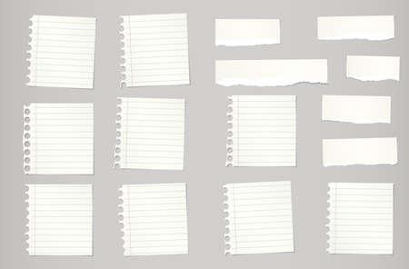 nota de papel: Piezas de color beige desgarrado descartar el papel del cuaderno están atrapados en el fondo gris. Vectores