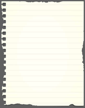 Ripped light green lined notebook paper is stuck on gray background. Vectores