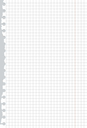table surface: Ripped white squared notebook paper is on gray table surface or background.