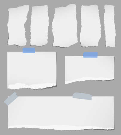 old page: Pieces of various gray torn note paper with adhesive tape are stuck on gray background. Illustration