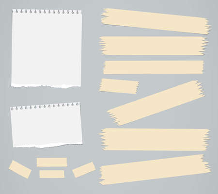 masking: Ripped white blank notebook paper sheets, masking tapes are stuck on gray background. Illustration