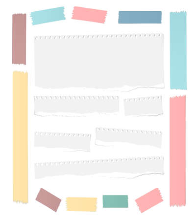 masking: Ripped white blank notebook paper sheets, colorful masking tapes frame are stuck on white background.