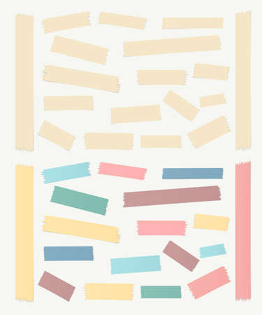 gray strip: Gray, colorful horizontal and vertical masking, sticky tape pieces on white background. Illustration