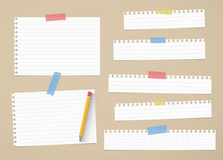 ruled paper: Pieces of cut out white ruled and grid notebook paper are stuck on brown background with yellow pencil.