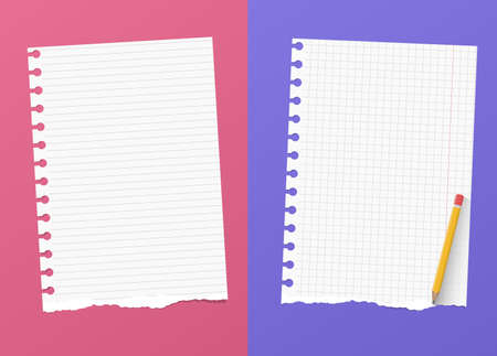 ruled paper: Ripped white ruled and grid notebook paper sheets are on colorful background with yellow pencil.