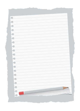 ruled paper: Ripped white ruled notebook paper sheet are on gray background with wooden pencil. Illustration