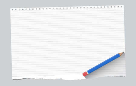 ruled paper: Ripped white ruled notebook paper sheet are on gray background with blue wooden pencil. Illustration
