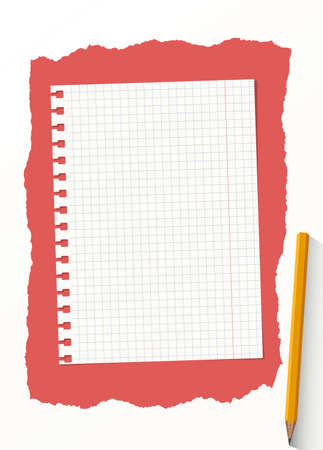 notebook page: White grid notebook paper sheet are on red background with yellow wooden pencil. Illustration