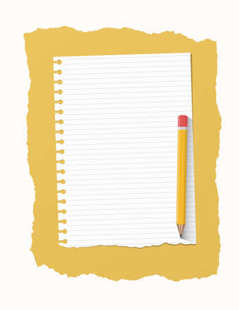 ruled paper: White ripped ruled notebook paper sheet are on yellow background with wooden pencil. Illustration