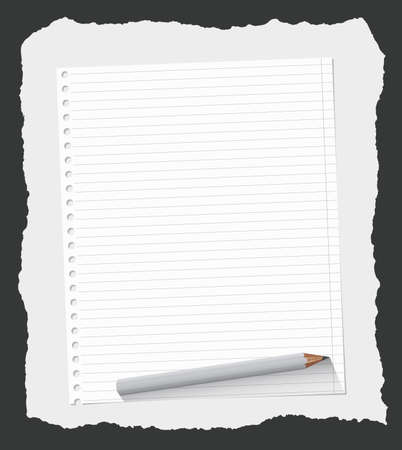 sheet: White ruled notebook paper sheet are on gray ripped background with wooden pencil. Illustration