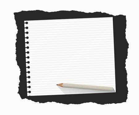 blatt: Weiß entschieden Notebook Blatt Papier sind auf schwarzem Hintergrund mit Bleistift aus Holz gerissen.